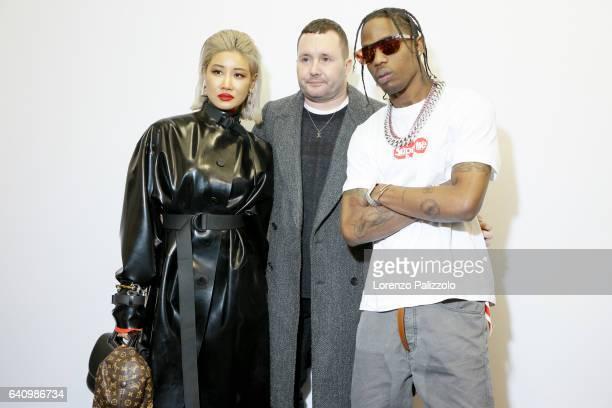 Stylist of Louis Vuitton Men, Kim Jones , Rapper Travis Scott and Ambush Creative Director Yoon pose Backstage prior the Louis Vuitton Menswear...