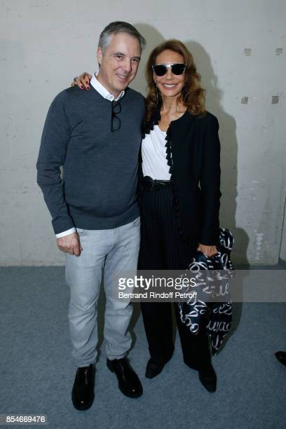 Stylist Olivier Lapidus and Marisa Berenson pose Backstage after the Lanvin show as part of the Paris Fashion Week Womenswear Spring/Summer 2018 on...