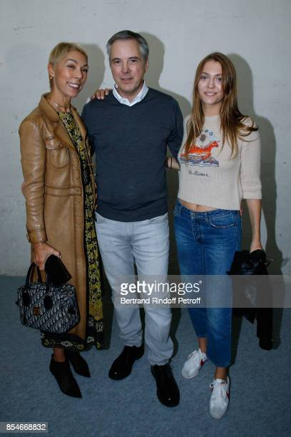 Stylist Olivier Lapidus standing between Mathilde Favier and her daughter Heloise Agostinelli pose Backstage after the Lanvin show as part of the...