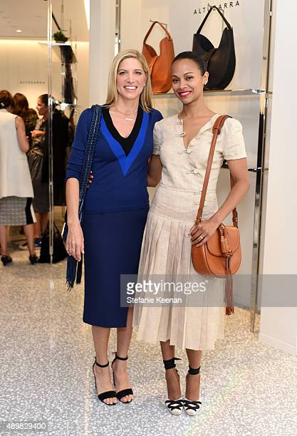 Stylist Petra Flannery and actress Zoe Saldana attend Joseph Altuzarra Luncheon hosted by Barneys New York Zoe Saldana and Petra Flannery at Barneys...
