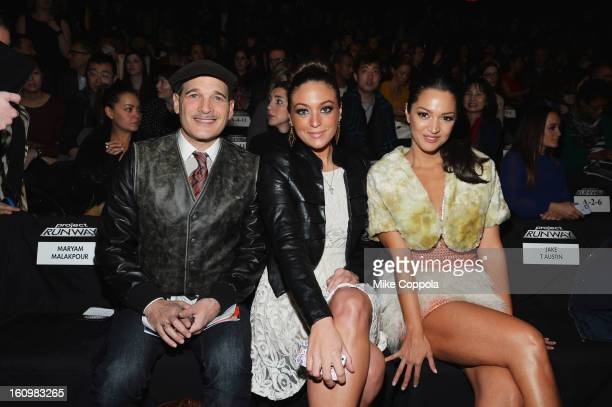 Stylist Phillip Bloch tv personality Sammi Giancola and actress Paula Garces attend the Project Runway Fall 2013 fashion show during MercedesBenz...