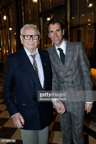 Stylist Pierre Cardin and coowner of the Boutique Pierre Pelegry attend the Ligne Blanche Boutique Opening at Galerie VeroDodat on November 23 2017...