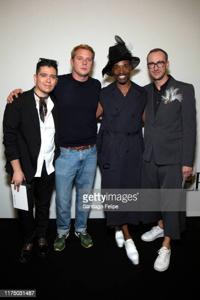 Stylist Sam Ratelle designer Jonathan Anderson Billy Porter and Adam PorterSmith pose for photos backstage after 'JW Anderson S/S 2020' fashion show...