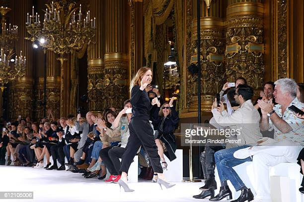 Stylist Stella McCartney acknowledges the applause of the audience at the end of the Stella McCartney show as part of the Paris Fashion Week...