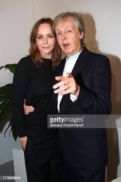 Stylist Stella McCartney and her father Paul McCartney pose after the Stella McCartney Womenswear Spring/Summer 2020 show as part of Paris Fashion...
