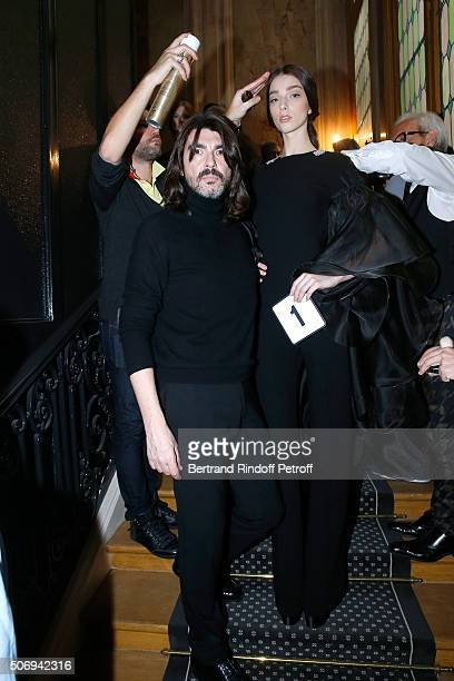 Stylist Stephane Rolland and a Model pose Backstage prior the Stephane Rolland Spring Summer 2016 show as part of Paris Fashion Week on January 26,...