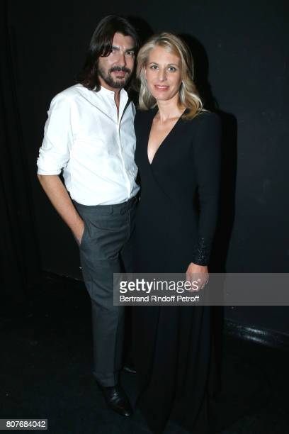 Stylist Stephane Rolland and pianist Claire-Marie Le Guay attend the Stephane Rolland Haute Couture Fall/Winter 2017-2018 show as part of Haute...