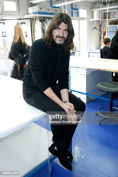 Stylist Stephane Rolland poses Backstage prior the Stephane Rolland Spring Summer 2016 show as part of Paris Fashion Week on January 26, 2016 in...