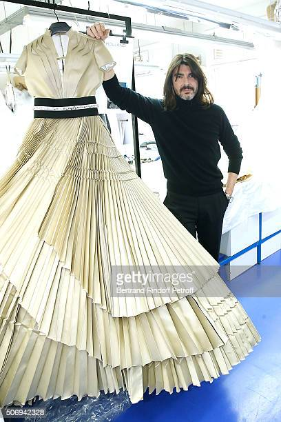 Stylist Stephane Rolland poses Backstage prior the Stephane Rolland Spring Summer 2016 show as part of Paris Fashion Week on January 26 2016 in Paris...