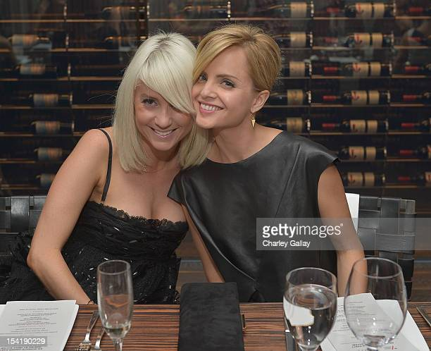 Stylist Taylor Jacobsen and actress Mena Suvari attend GenArt's 14th Annual Fresh Faces In Fashion Intimate Dinner at Andaz on October 15 2012 in...