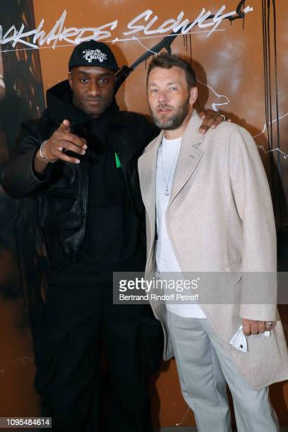 Stylist Virgil Abloh and actor Joel Edgerton pose after the Louis Vuitton Menswear Fall/Winter 20192020 show as part of Paris Fashion Week on January...