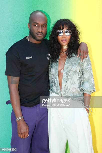 Stylists Virgil Abloh and Kim Jones pose after the Louis Vuitton Menswear Spring/Summer 2019 show as part of Paris Fashion Week on June 21 2018 in...