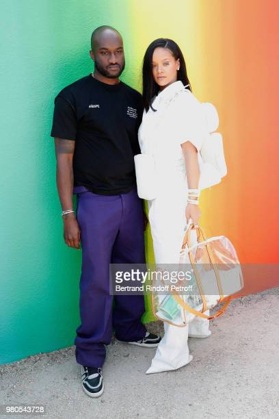 Stylist Virgil Abloh and singer Rihanna pose after the Louis Vuitton Menswear Spring/Summer 2019 show as part of Paris Fashion Week on June 21 2018...