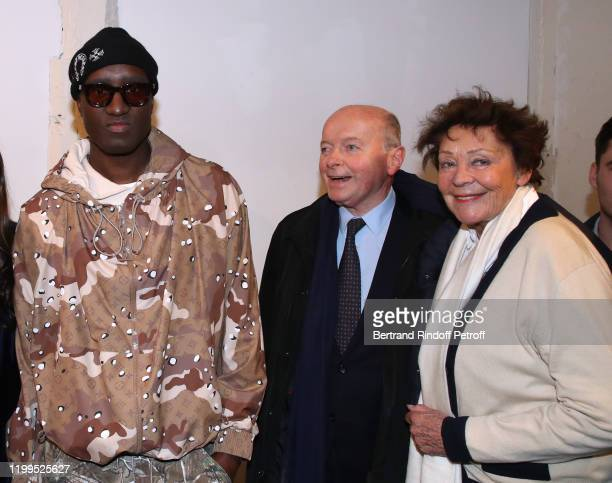Stylist Virgil Abloh Jacques Toubon and his wife Lise Toubon attend the Virgil Abloh Efflorescence Exhibition Preview at Kreo Gallery on January 14...