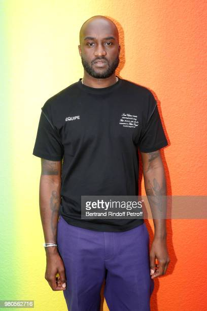 Stylist Virgil Abloh poses after the Louis Vuitton Menswear Spring/Summer 2019 show as part of Paris Fashion Week on June 21 2018 in Paris France