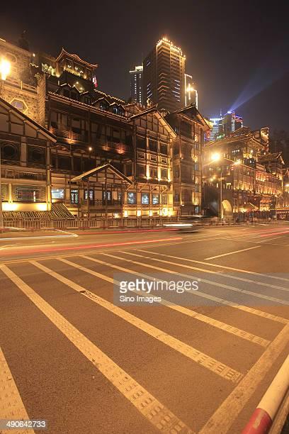 Stylistic building and street in Chongqing Hongya Cave