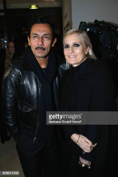 Stylists Haider Ackermann and Maria Grazia Chiuri attend the LVMH Prize 2018 Designers Presentation on March 1 2018 in Paris France