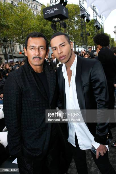 Stylists Haider Ackermann and Olivier Rousteing attend 'Le Defile L'Oreal Paris show' as part of the Paris Fashion Week Womenswear Spring/Summer 2018...