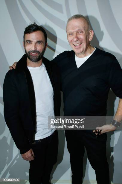 Stylists Nicolas Ghesquiere and JeanPaul Gaultier pose after the JeanPaul Gaultier Haute Couture Spring Summer 2018 show as part of Paris Fashion...