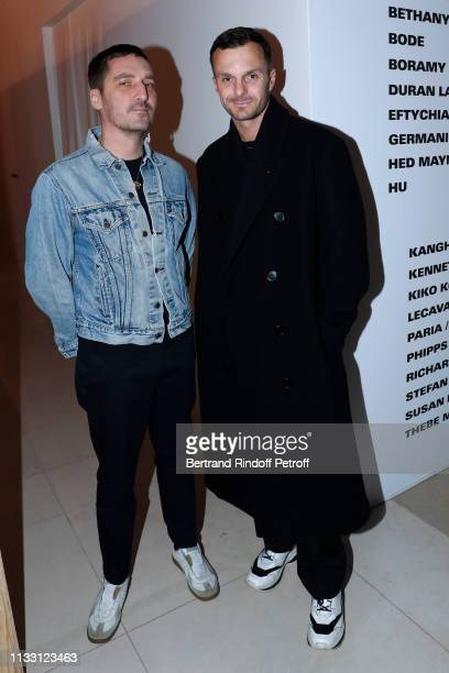 Stylists Serge Ruffieux and Kris Van Assche attend the LVMH Prize 2019 Edition at Louis Vuitton Avenue Montaigne Store on March 01 2019 in Paris...