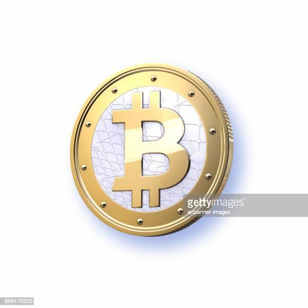 stylized  bitcoin on white background - bitcoin stock-fotos und bilder