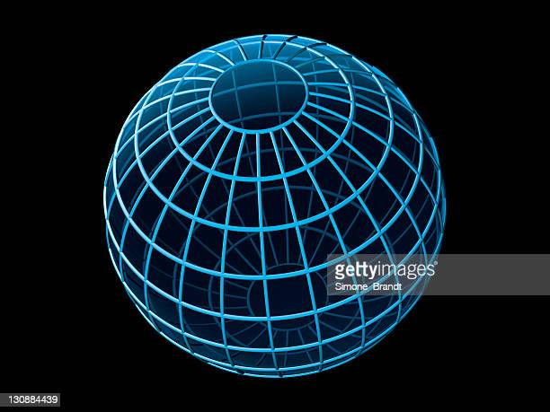 Stylized blue globe marked with longitudinal and latitudinal lines against a black background, 3-D cutout