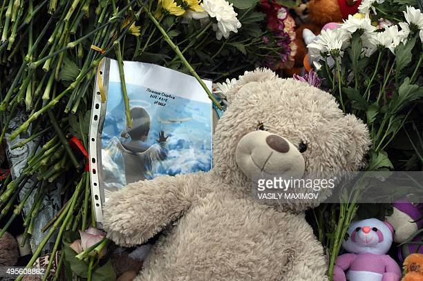 A stylized photograph of 10monthold Darina Gromova a victim of the jetliner crash is seen next to flowers and cuddy toys at a makeshift memorial for...