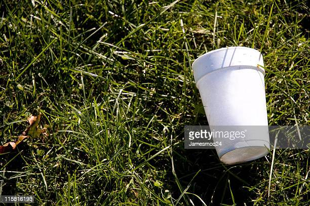 A styrofoam cup on the grass representing litter
