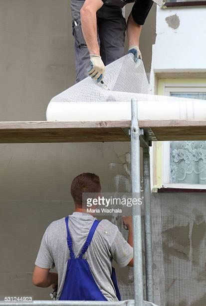 Styrofoam insulation of wall.