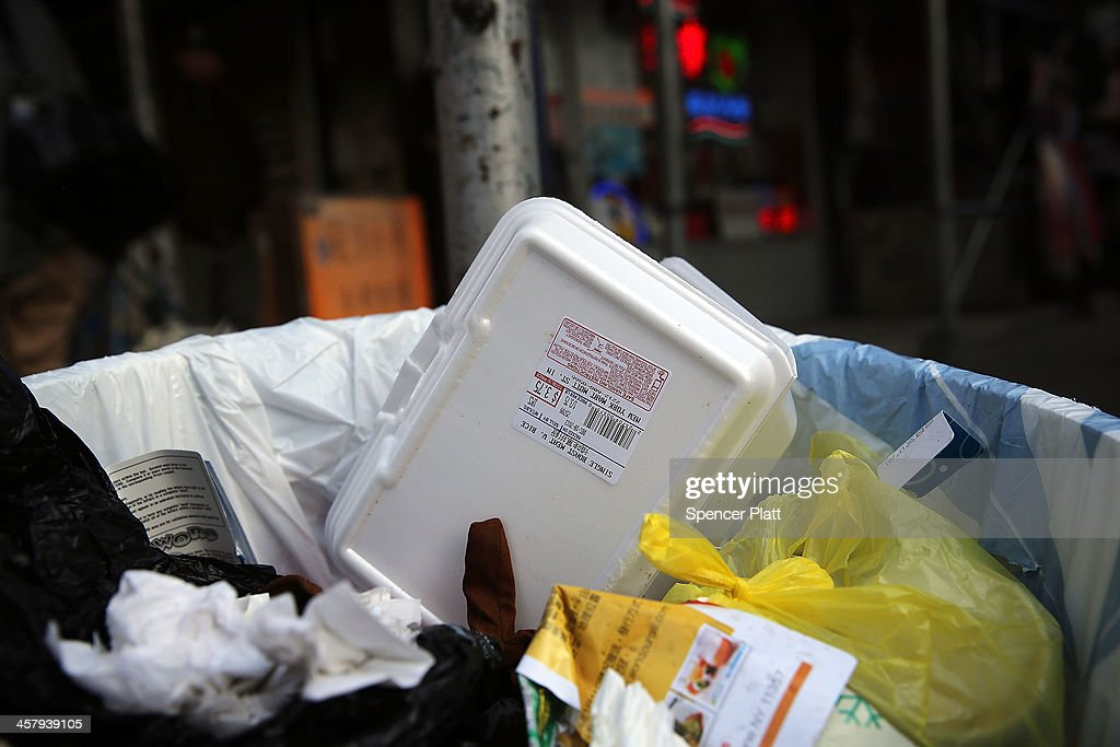 A styrofoam take-out container is viewed in a trash can on December 19, 2013 in New York City. New York's City Council will vote Thursday on a bill that would see expanded polystyrene (EPS), or styrofoam, either banned or added to the city's curbside recycling program. The current version of the bill would give the city's sanitation commissioner until Jan. 1, 2015 to decide whether plastic foam is recyclable. The proposed ban has been met with resistance from the American Chemistry Council and Dart Container among other groups.