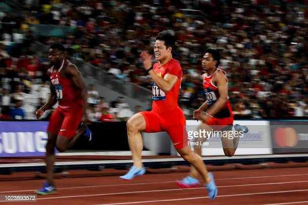 Su Bingtian of China in action Men's 100m final on on day eight of the Asian Games on August 26, 2018 in Jakarta, Indonesia.