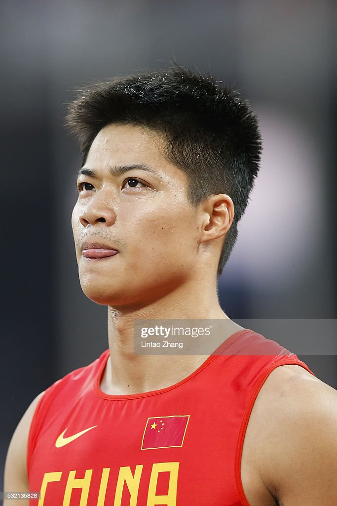 Su Bingtian of China looks on before during the Men's ...