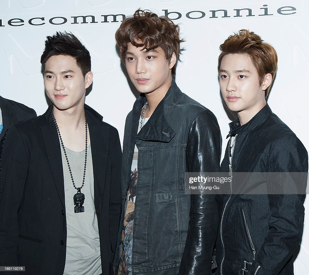 Su Ho, Kai and D.O. of South Korean boy band EXO-K attend the 'Suecomma Bonnie' 10th Anniversary Exhibition at Conrad Hotel on March 29, 2013 in Seoul, South Korea.