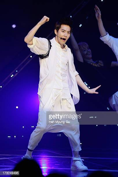 Su Ho of boy band EXO performs onstage during the MBC Music 'Show Champion' at Uniqlo AXHall on July 10 2013 in Seoul South Korea
