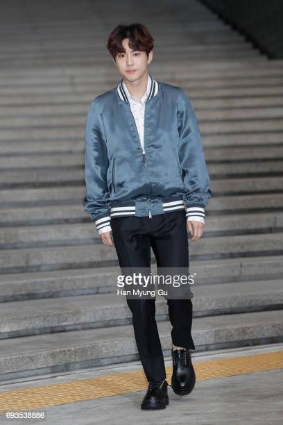 Su ho of boy band EXOK attends the photocall for Volez Voguez Voyagez Louis Vuitton Exhibition at DDP on June 7 2017 in Seoul South Korea