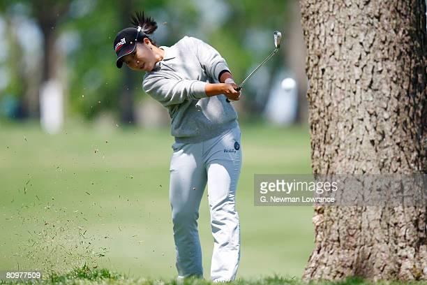 Su Kim of South Korea takes a shot on the 8th hole during the third round of the SemGroup Championship presented by John Q Hammons on May 3 2008 at...