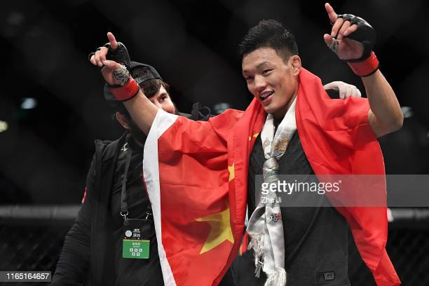 Su Mudaerji of China reacts after the conclusion of his bantamweight bout against Andre Soukhamthath during the UFC Fight Night event at Shenzhen...