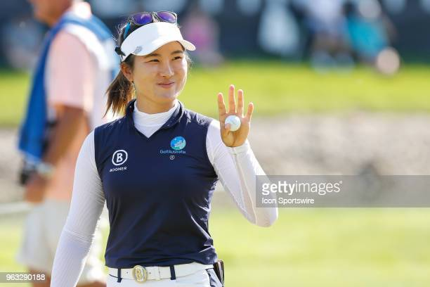 Su Oh of Australia acknowledges the gallery after putting out on the 18th green during the final round of the LPGA Volvik Championship on May 27 2018...