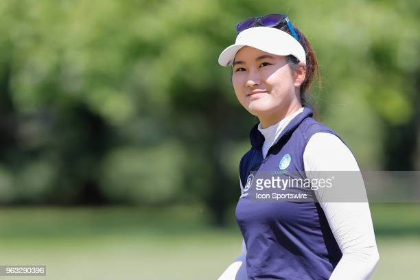 Su Oh of Australia looks at the gallery on the ninth green during the final round of the LPGA Volvik Championship on May 27 2018 at Travis Pointe...