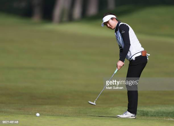 Su Oh of Australia misses a birdie putt on the fifth hole during the second round of the Mediheal Championship at Lake Merced Golf Club on April 27...