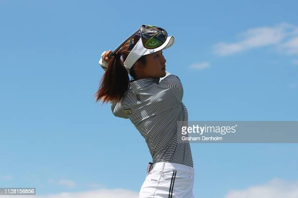 Su Oh of Australia plays a shot during day two of the ISPS Handa Vic Open at 13th Beach Golf Club on February 08 2019 in Geelong Australia