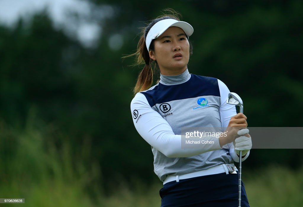 Su Oh of Australia watches her tee shot on the 11th hole during the second round of the ShopRite LPGA Classic Presented by Acer on the Bay Course at Stockton Seaview Hotel and Golf Club on June 9, 2018 in Galloway, New Jersey.