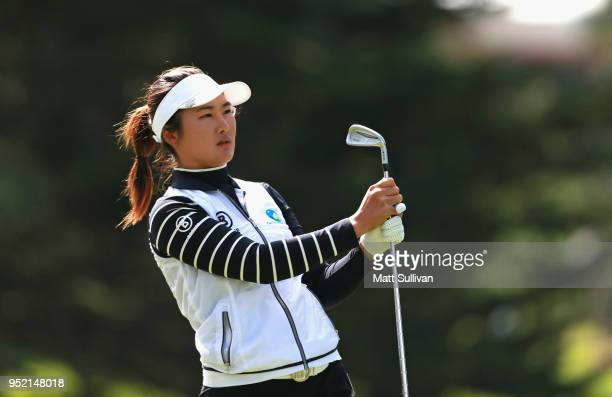 Su Oh of Australia watches her tee shot on the sixth hole during the second round of the Mediheal Championship at Lake Merced Golf Club on April 27...