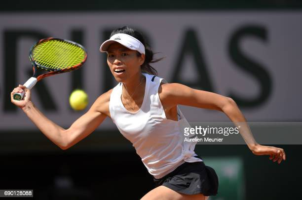 Su Wei Hsieh of Chinese Taipei plays a forehand during her women's single match against Johanna Konta of Great Britain on day three of the 2017...