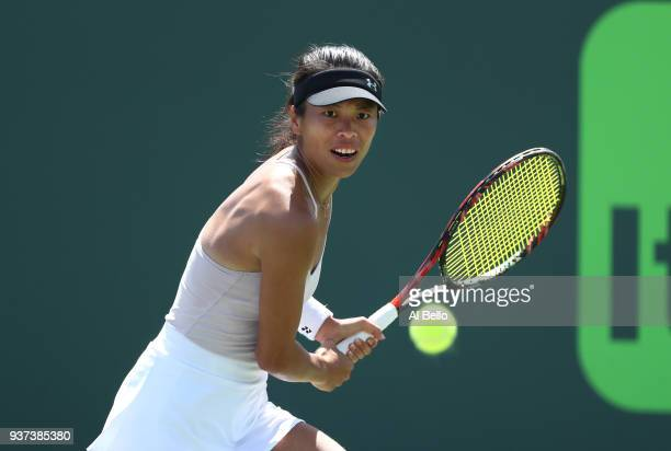 Su Wei Hsieh of Chinese Taipei plays a shot against Karolina Pliskova of the Czech Republic during Day 6 of the Miami Open at the Crandon Park Tennis...