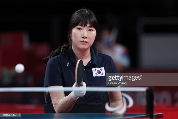 Su Yeon Seo of Team Republic of Korea competes against Jing Liu of Team China during the Table Tennis Women's Singles - Classes 1-2 Gold Medal Match...