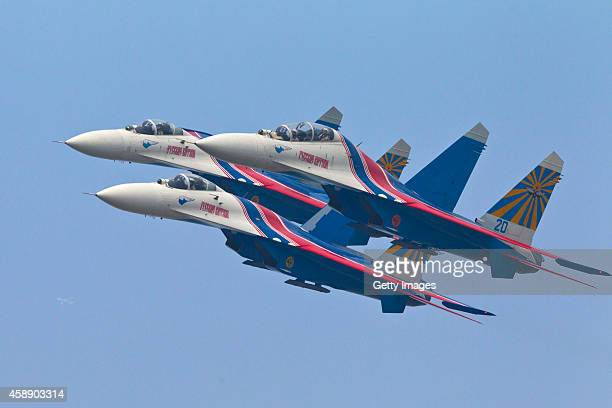 Su27 jets of the Russian Airforce 'Knigths' Aerobatic team performs air show on November 13 2014 in Zhuhai Guangdong province of China The 10th China...