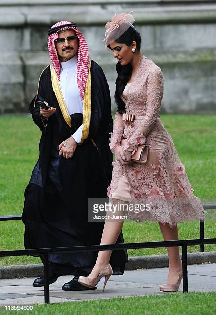 Suadi Prince AlWaleed bin Talal and Princess Ameerah exit after the wedding of Their Royal Highnesses Prince William Duke of Cambridge and Catherine...