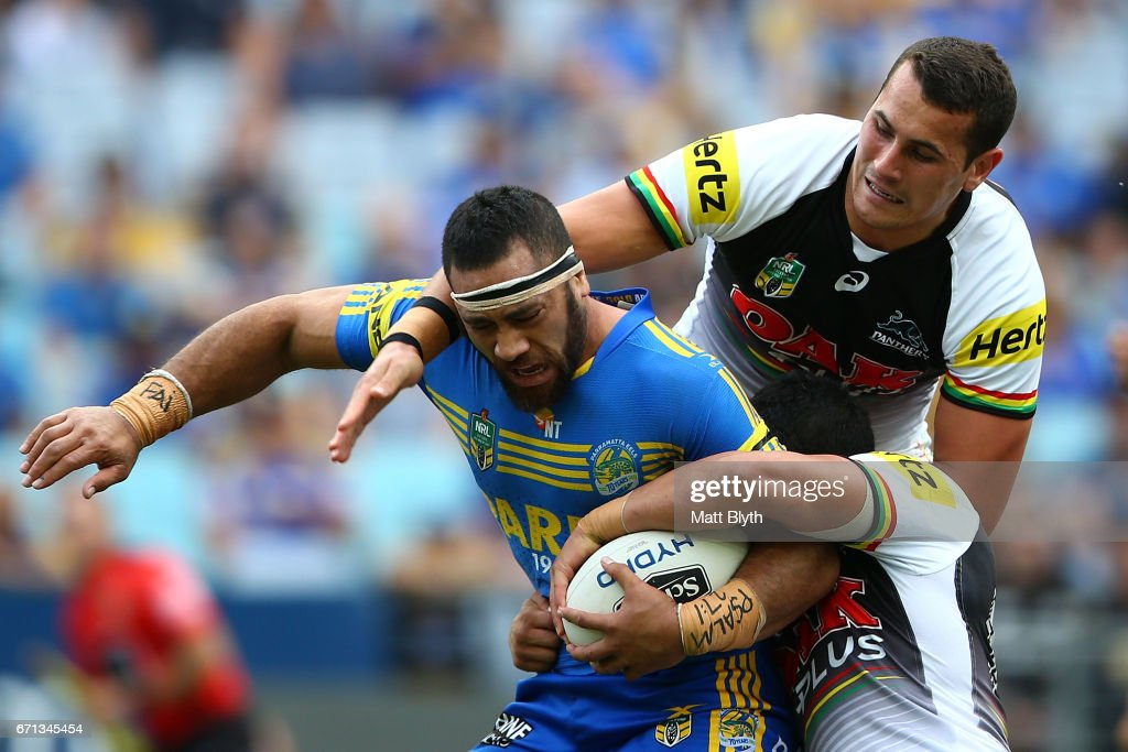 Suaia Matagi of the Eels is tackled during the round eight NRL match between the Parramatta Eels and the Penrith Panthers at ANZ Stadium on April 22, 2017 in Sydney, Australia.