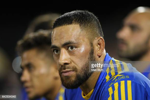 Suaia Matagi of the Eels looks on during the NRL Trial match between the Penrith Panthers and Parramatta Eels at Pepper Stadium on February 18 2017...